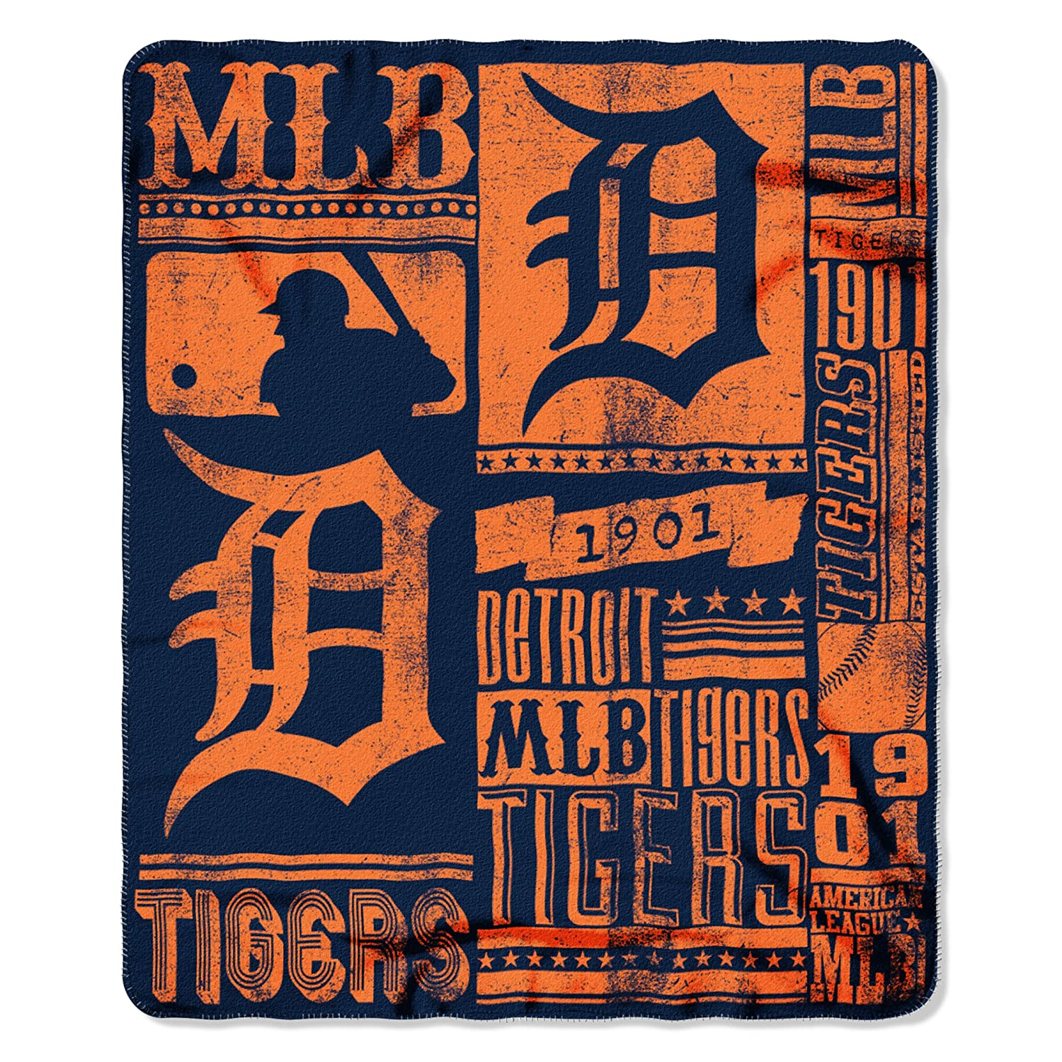 The Northwest Company MLB Detroit Tigers Strength Printed Fleece Throw 50 inch by 60 inch