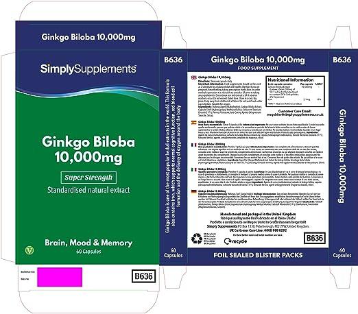 Ginkgo Biloba 10000 mg | Mejora la circulación sanguínea y la memoria | 60 cápsulas: Amazon.es: Salud y cuidado personal