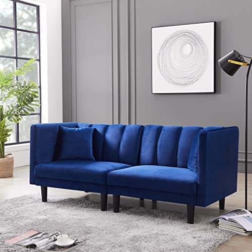 Convertible Futon Sofa Bed – AiChuangHome FSB004 2020 Sleeper Velvet Sofa Bed Couch Sectional with Detachable Armrests for Living Room Small Spaces