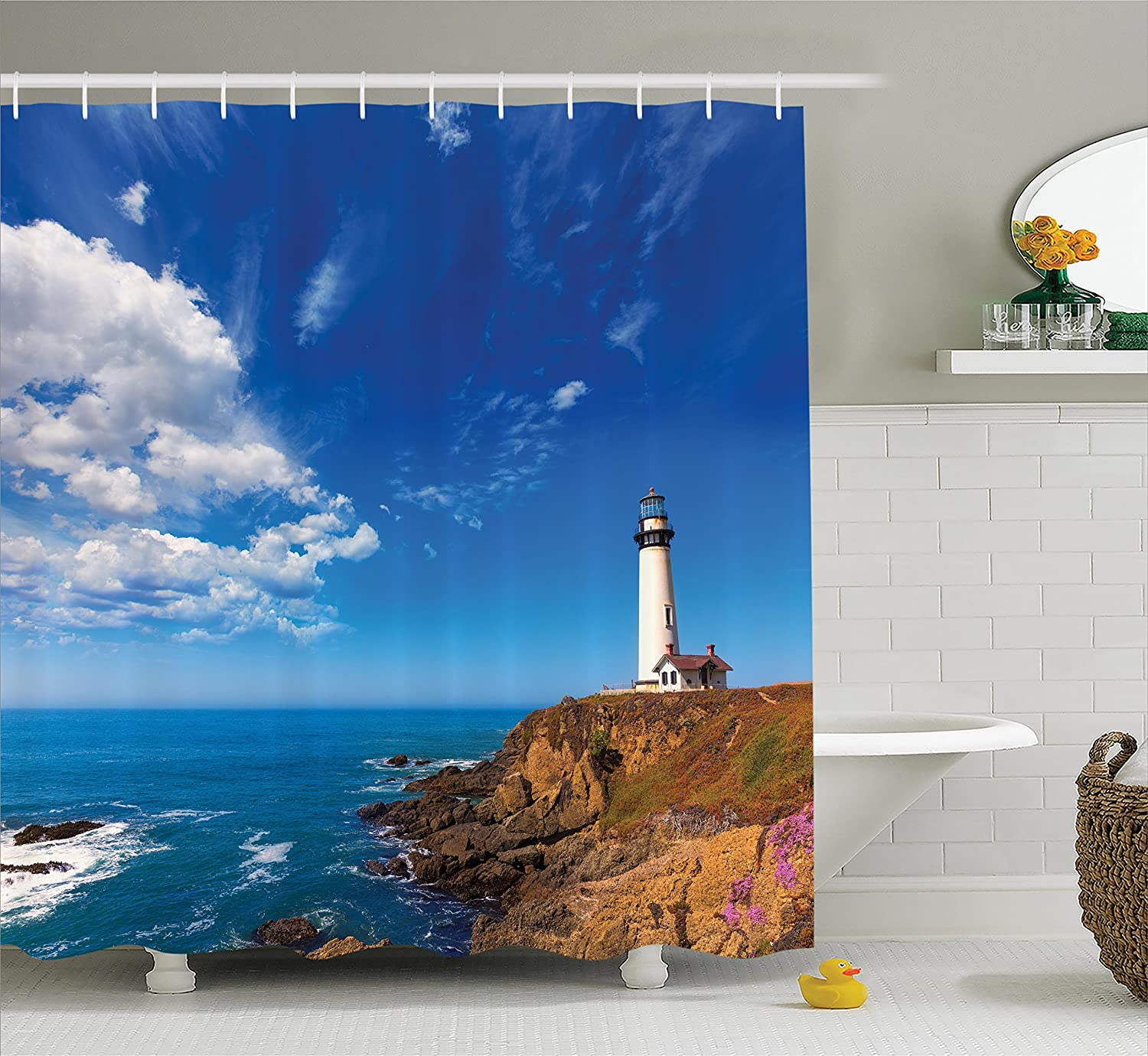 Ambesonne Lighthouse Decor Collection, California Pigeon Point Lighthouse in Cabrillo Coastal Highway State Route Image Print, Polyester Fabric Bathroom Shower Curtain Set with Hooks, Blue White