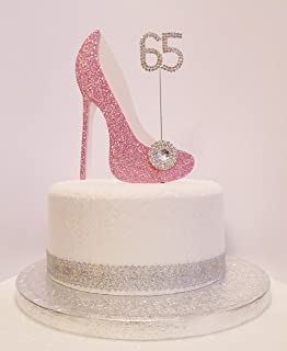 65th Birthday Cake Decoration Pink White Shoe With Crystal Embellishments And Diamante Number Non