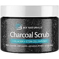 M3 Naturals Charcoal Exfoliating Body Scrub with Collagen & Stem Cell - Gentle Body Exfoliator, Face Scrub, Bump Eraser…