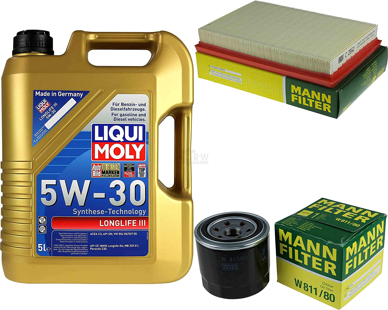 Filter Set Inspektionspaket 5 Liter Liqui Moly Motoröl Longlife Iii 5w 30 Mann Filter Luftfilter Ölfilter Auto