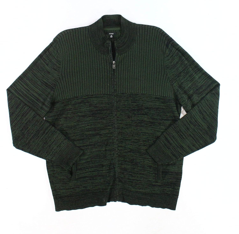 Alfani Nordic Mens Large Striped Full Zip Sweater