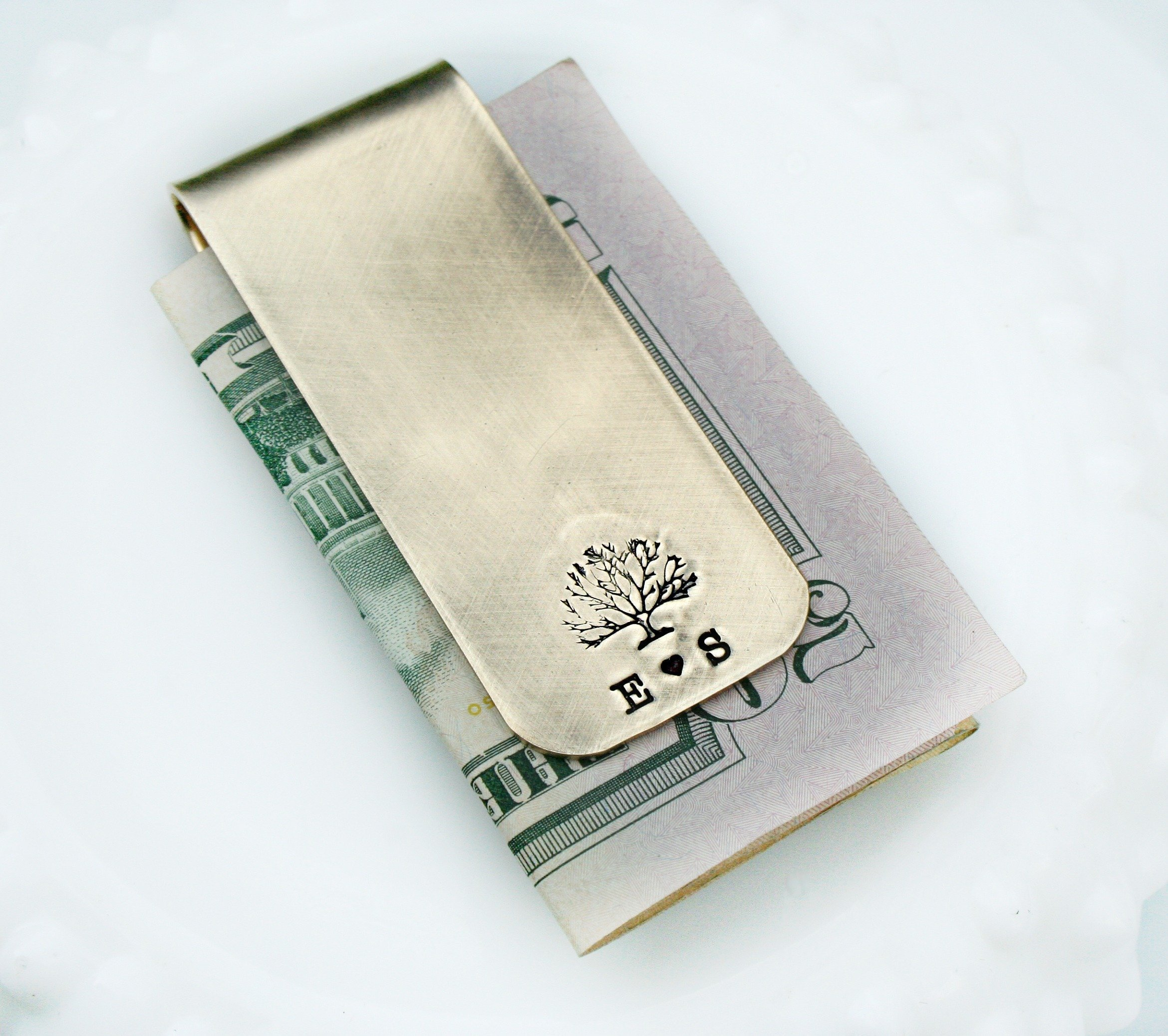 Personalized Gold Brass Rustic Money Clip for Him - Stamped Custom Money Clip for Dad - Monogrammed Gift Groom Husband Dad - Groomsmen Gift