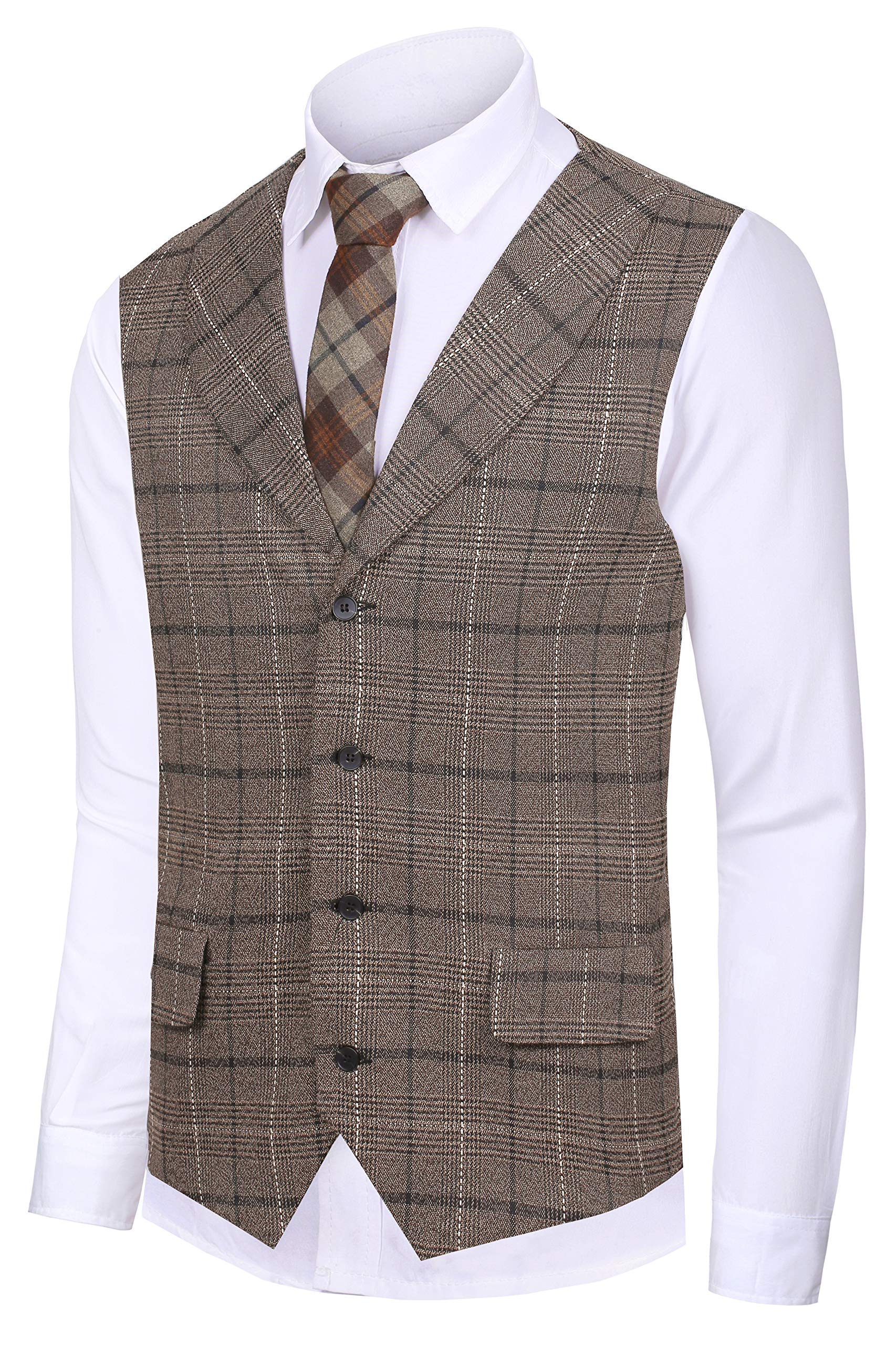 Hanayome Men Waistcoat Collar Sleeveless Slim Fit Jacket Business Suit Vests VS30,Brown 1,L(US Tag Chest 44'' Waist 38'') by Hanayome