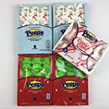 Christmas Peeps Bundle - 2 Packs Snowman Peeps, 2 Packs Christmas Tree Peeps, 1 Pack Candy Cane Chicks