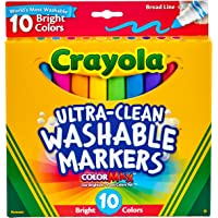 10ct Ultra-Clean Markers ,Bright Neon Colours, Washable, Broad Tip, Colouring Fun, Education, School Project, Classroom