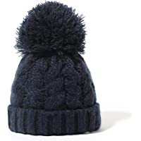 Sonemone Baby Unisex Navy Cable Knit Pompom Beanie with Fleece Lining for Age 0-1 Month