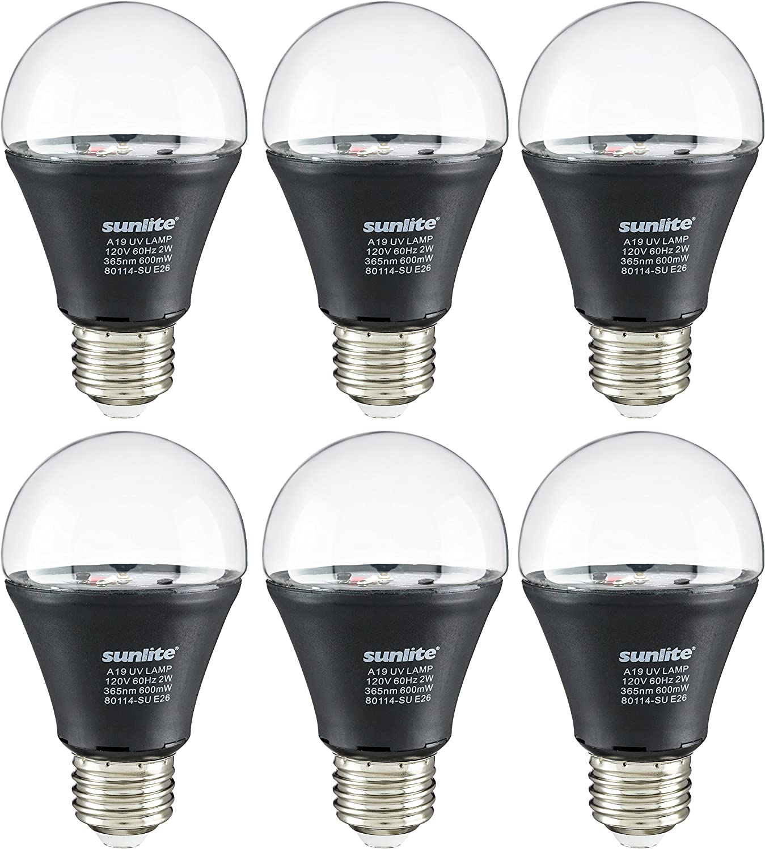 Sunlite A19//LED//2W//BLB LED UV 2W A19 Blacklight Blue Bulb with E26 Medium Base Sunshine Lighting