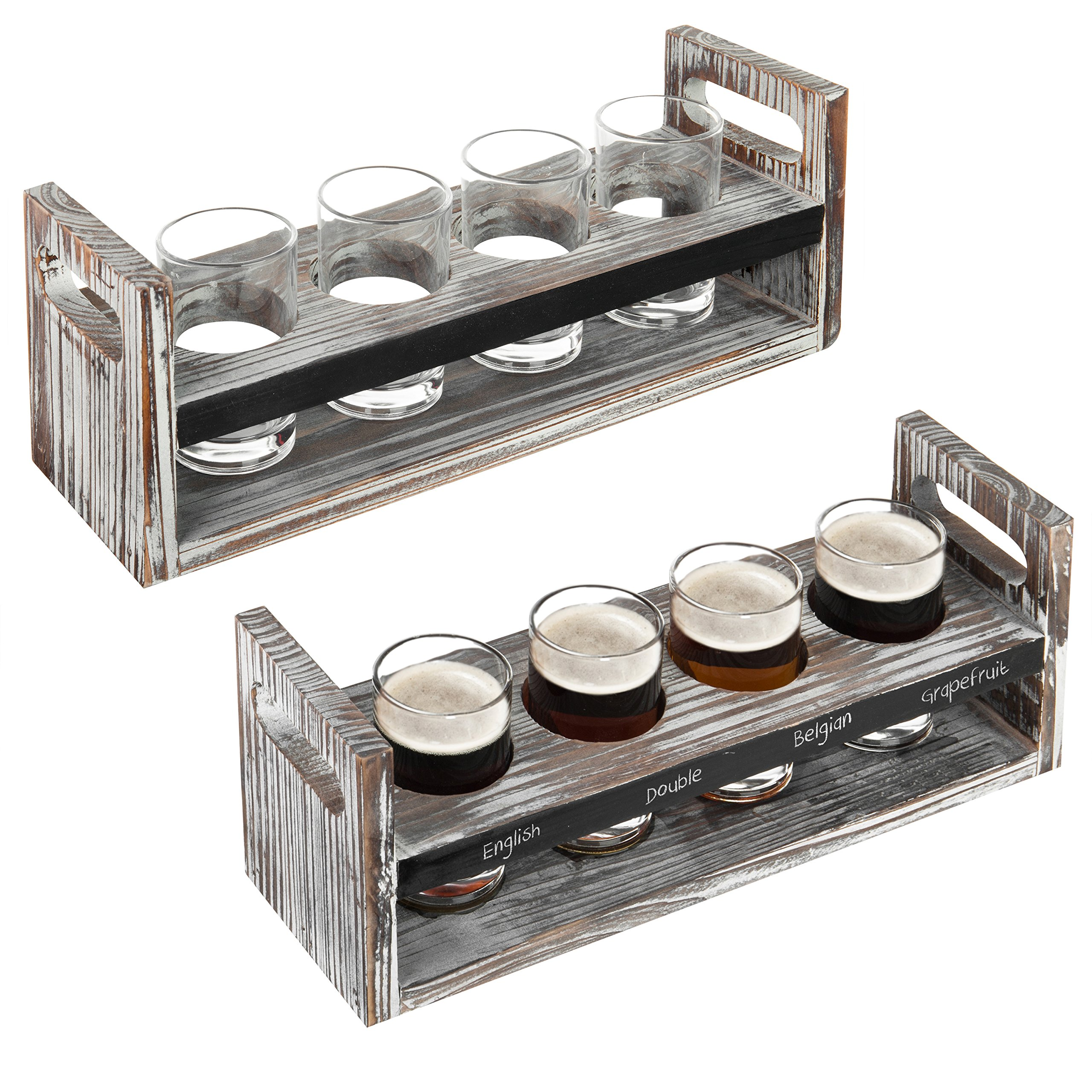 MyGift Set of 2 Torched Wood Beer Flight Serving Caddies with Chalkboard Panels & 4 Tasting Glasses