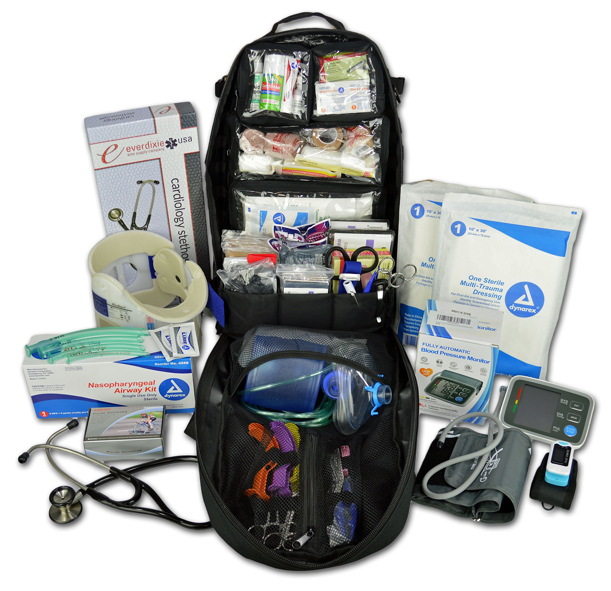 Lightning X Premium Stocked Tactical EMS/EMT Trauma First Aid Responder Medical Kit Backpack - Black