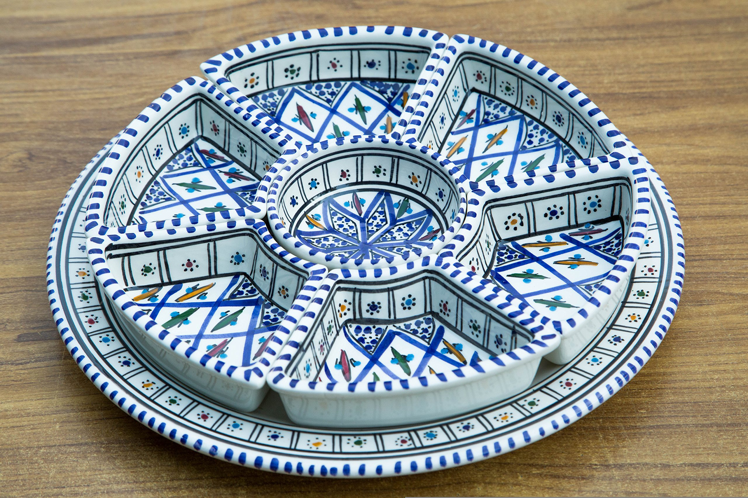 Blue Round Dippers, 8 Pieces of Ceramic Dipping and Serving Plates Handmade, Hand-painted - Gifts, Wedding Gifts