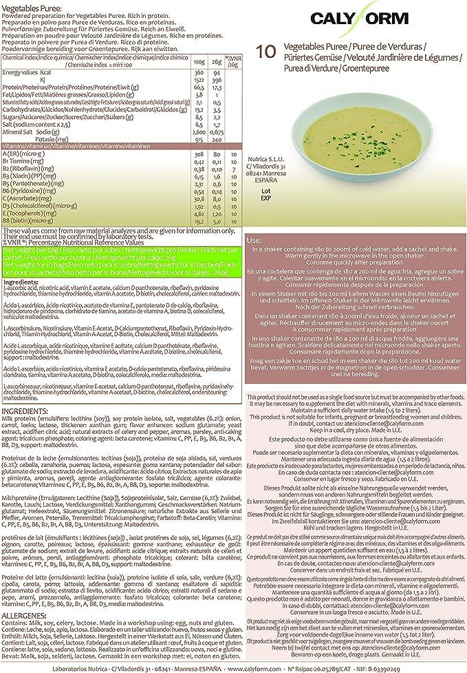 CALYFORM Puré de Verduras Proteico para dieta saciante | Proteína en polvo para preparar purés de verduras para una dieta proteica de calidad y aporte ...