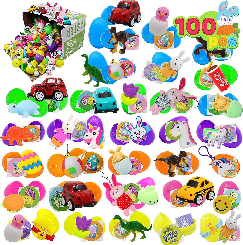 100 PCs Toys Plus Stickers Prefilled Easter Eggs Premium Hinged 2 3/8