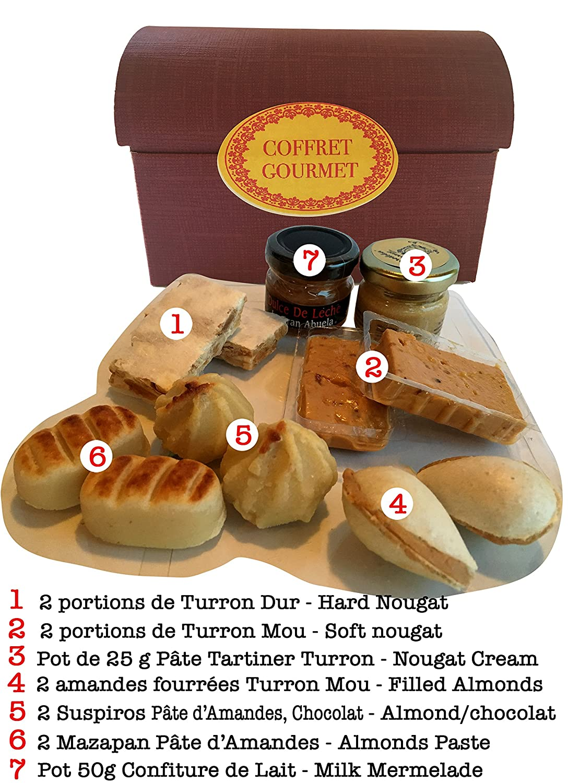 Cajita Dulces Españoles Regalo - Crema Untar Turrodelia - Dulce Leche - Mazapan - Empanadilla - Suspiro Chocolate - Turron Alicante Turron Jijona - Pastel ...