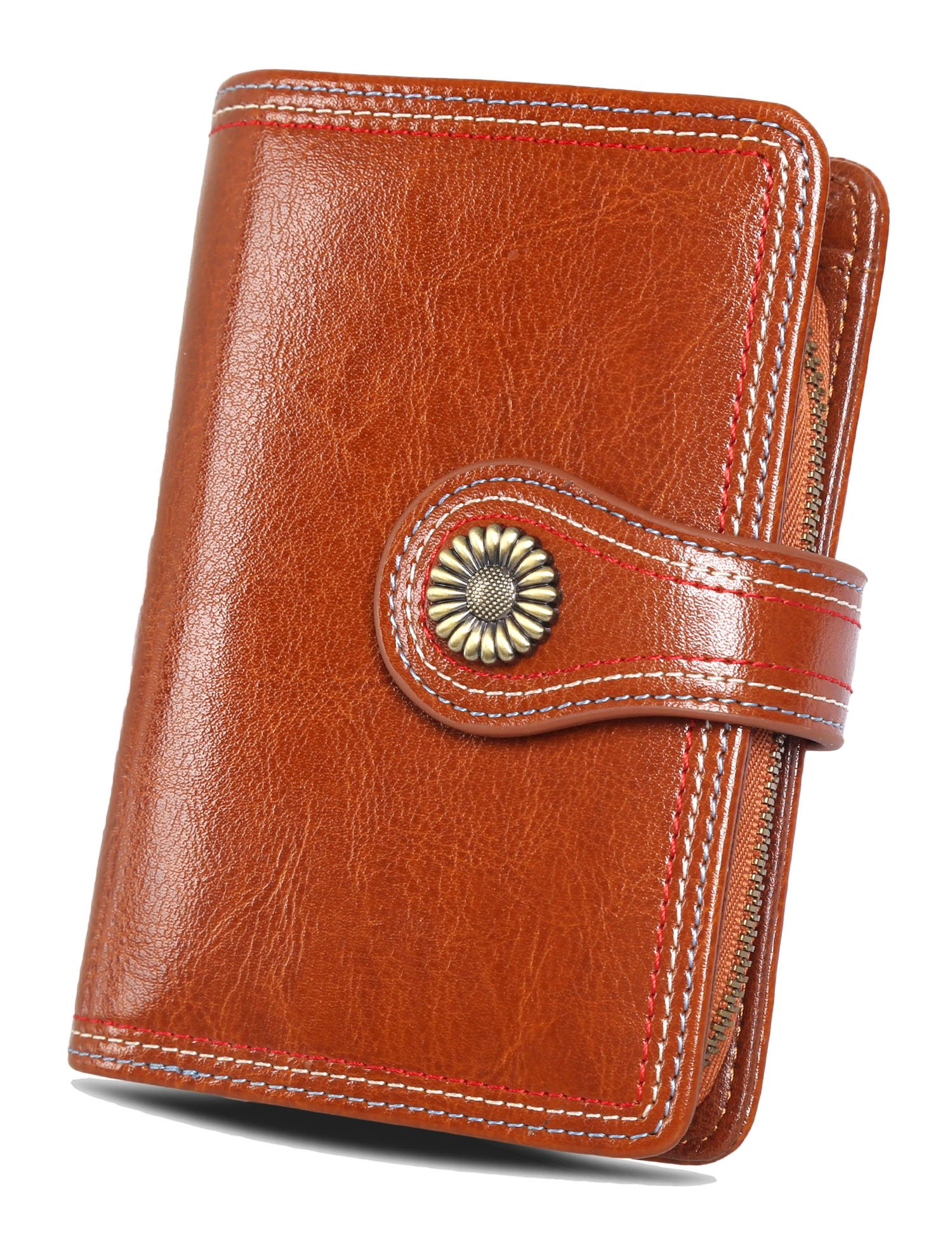 Women's Leather Small Wallets Card Case Ladies Purse RFID Wallet With ID Window