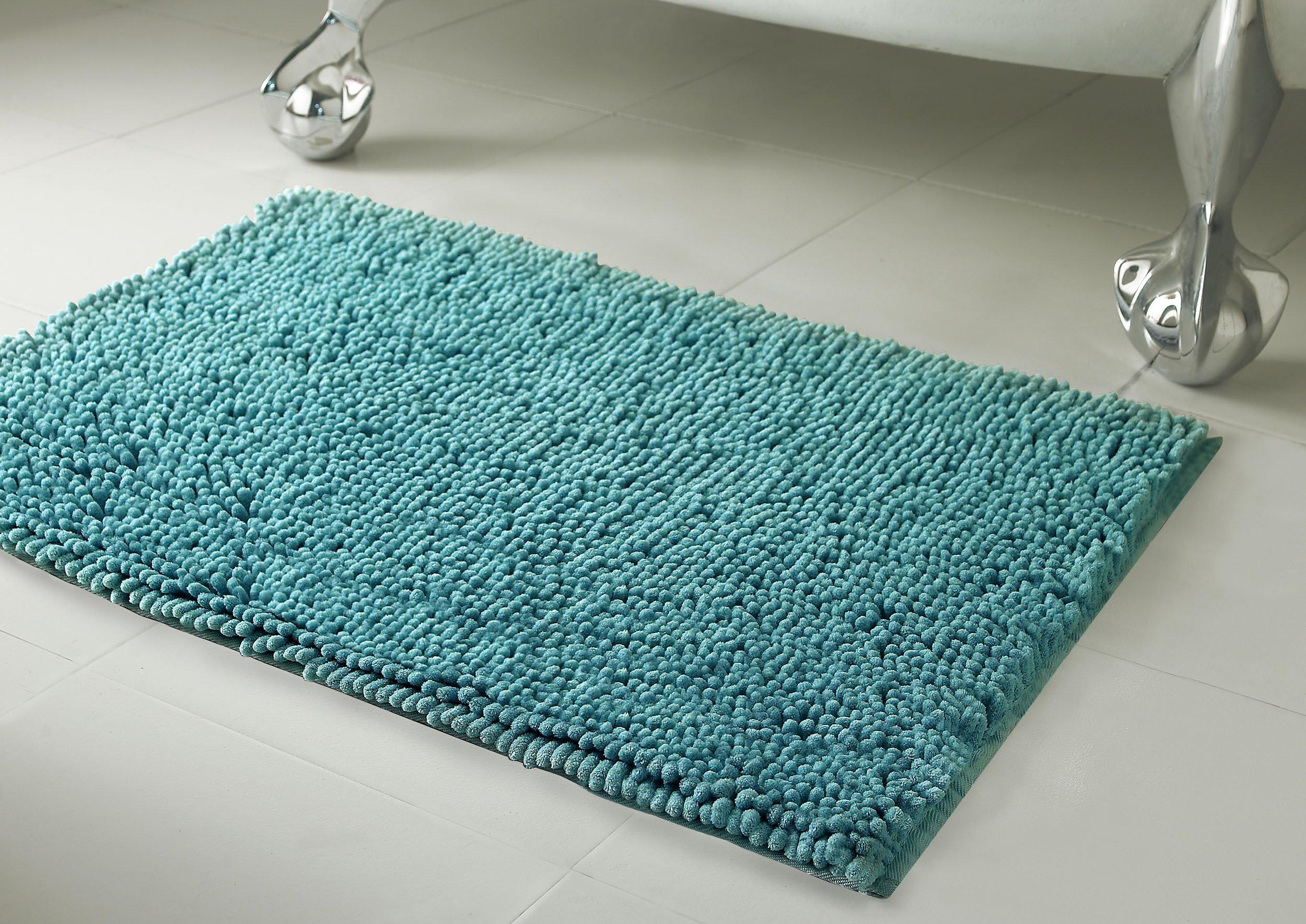 Resort Collection Plush Shag Chenille 2-Piece 17 x 24'' Bath Mat Set, Marine Blue