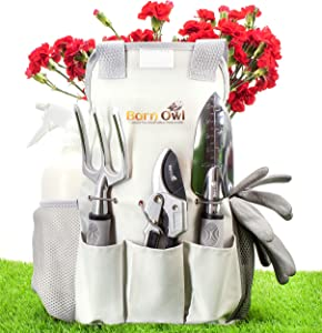 Barn Owl 11 Stainless Steel 9 Piece Gardening Tools I Gar, White
