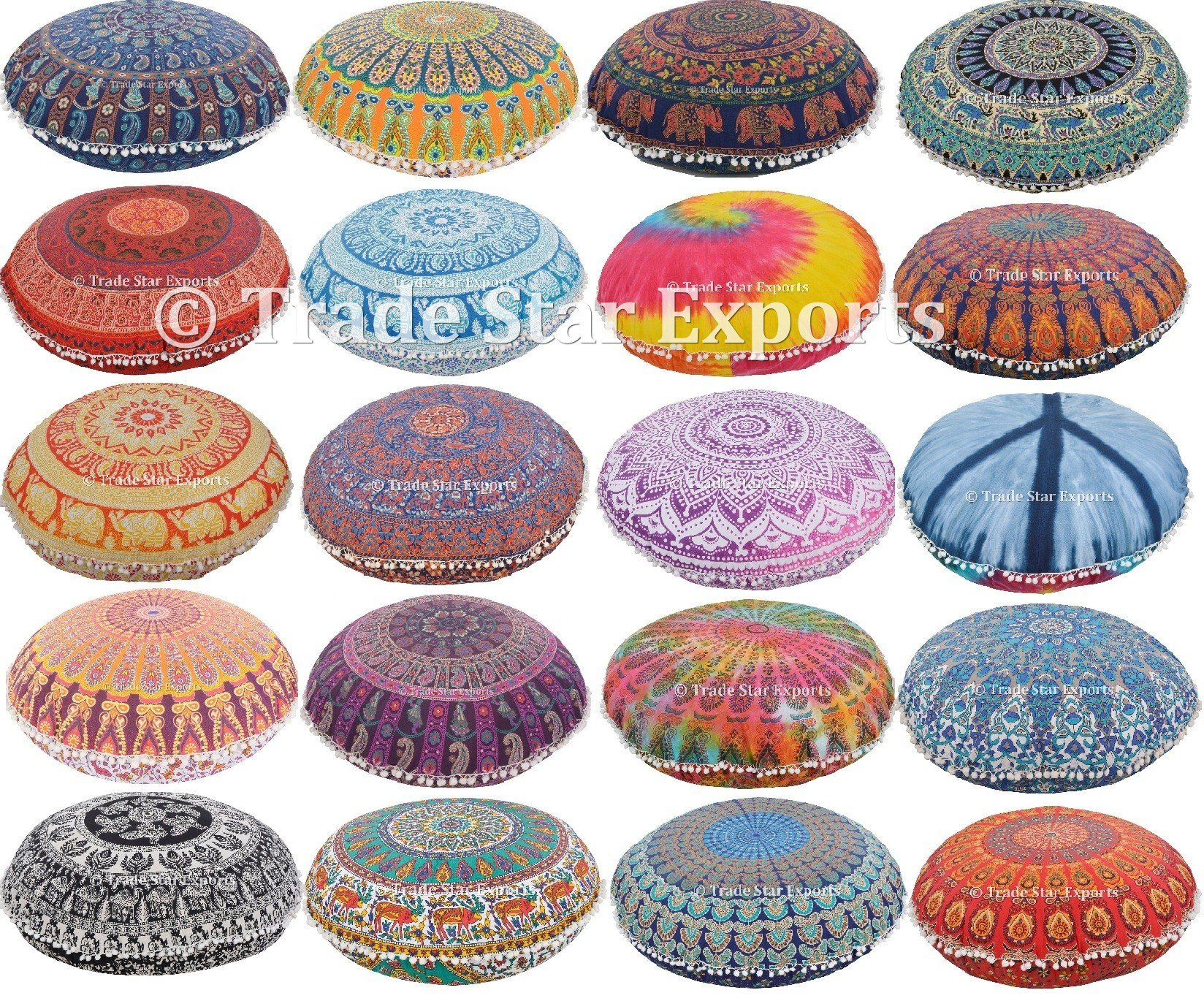 Set Of 10 Indian Mandala Pillow Cover, 32'' Round Cushion, Ethnic Floor Pillow Case, Boho Cushion Cover, Decorative Outdoor Pillows, Pom Pom Pillow Sham by Trade Star Exports