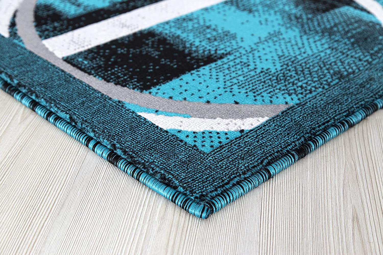 "DORI 7/'10/"" x 10/'6/"" Turquoise Grey Machine Woven Polypropylene Area Rug"