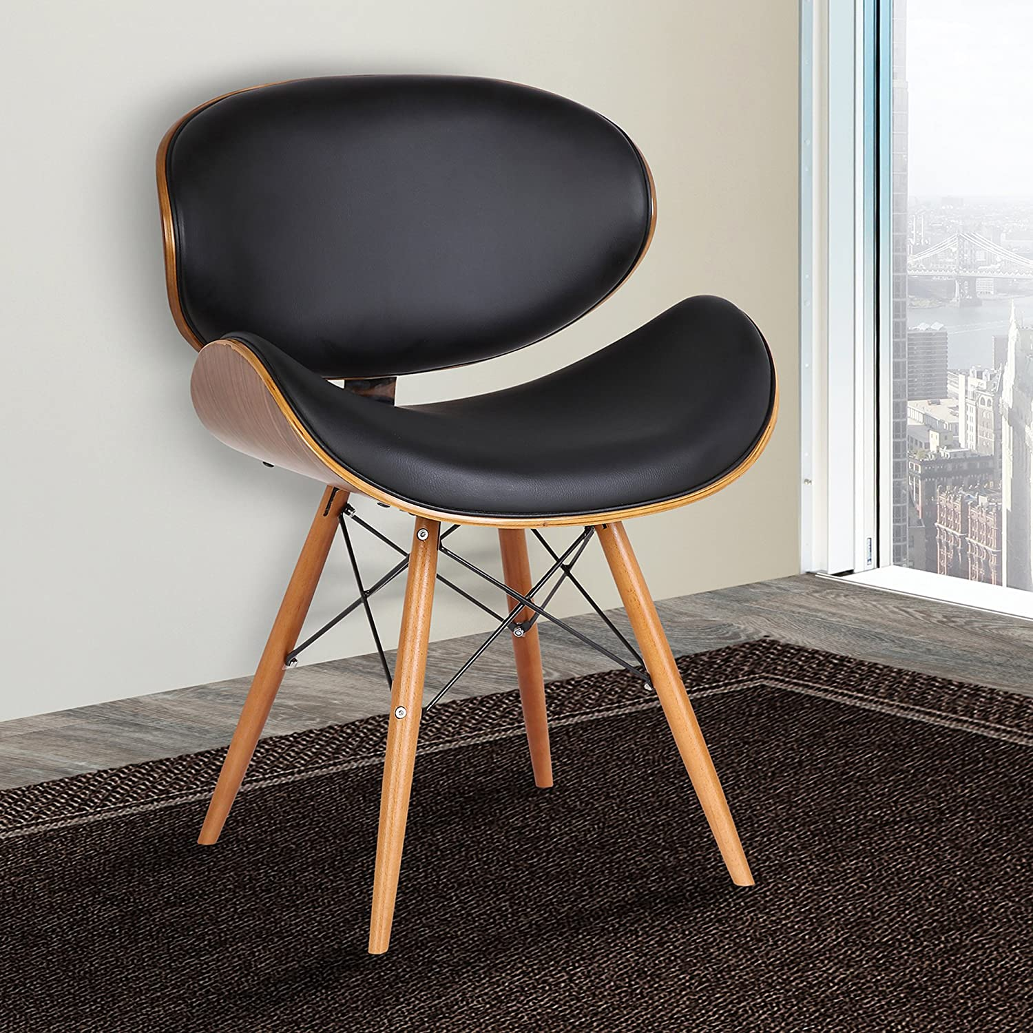 Armen LivingCassie Dining Chair in Black Faux Leather and Walnut Wood Finish