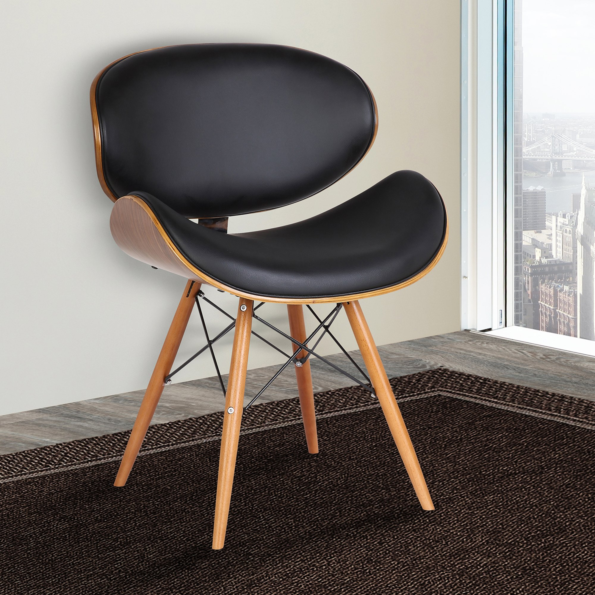 Armen Living LCCASIWABL Cassie Dining Chair in Black Faux Leather and Walnut Wood Finish