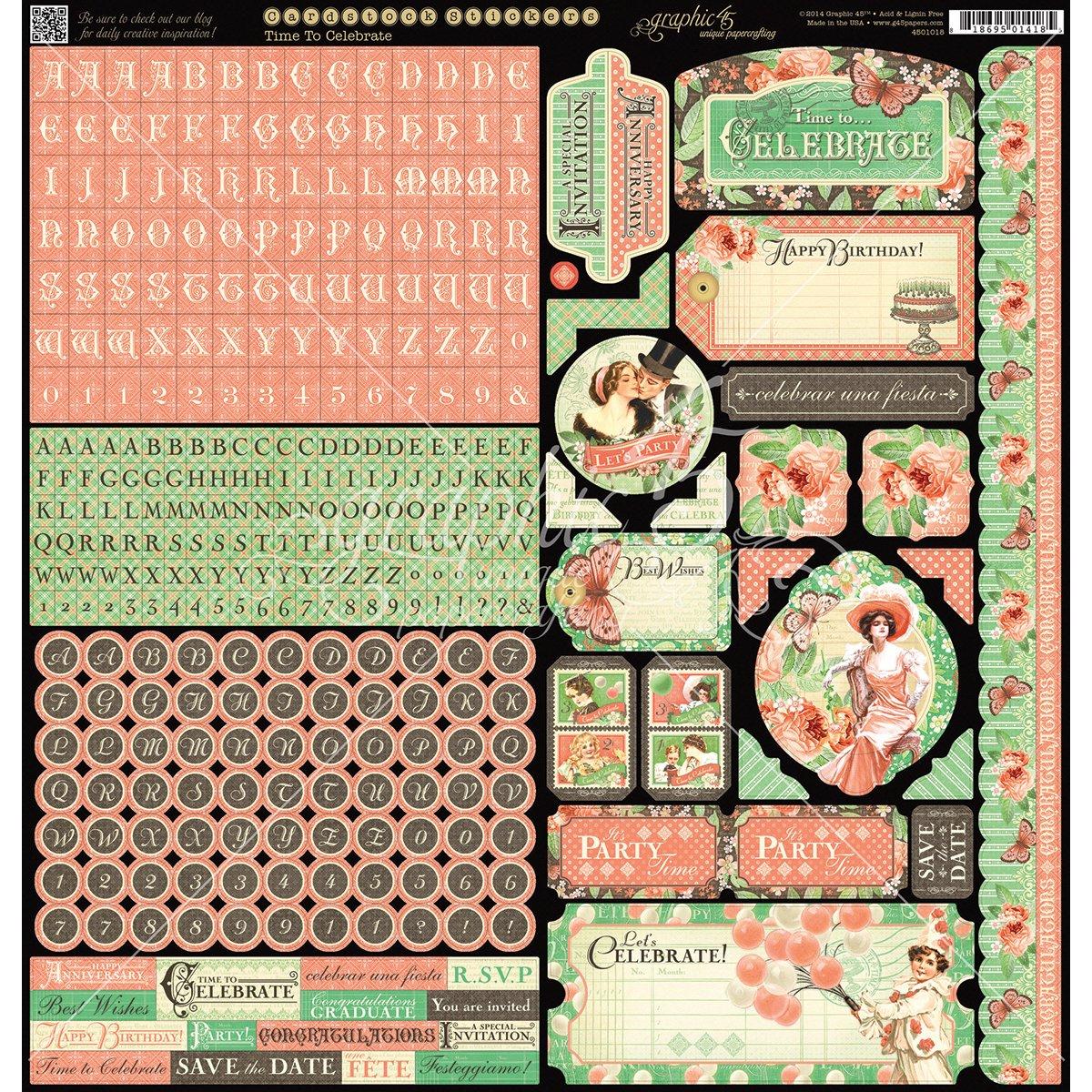 Graphic 45 Time To Celebrate Stickers Hampton Arts 4501018