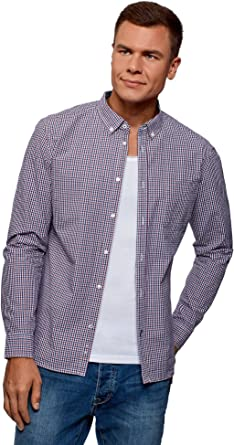 oodji Ultra Hombre Camisa a Cuadros Pequeños