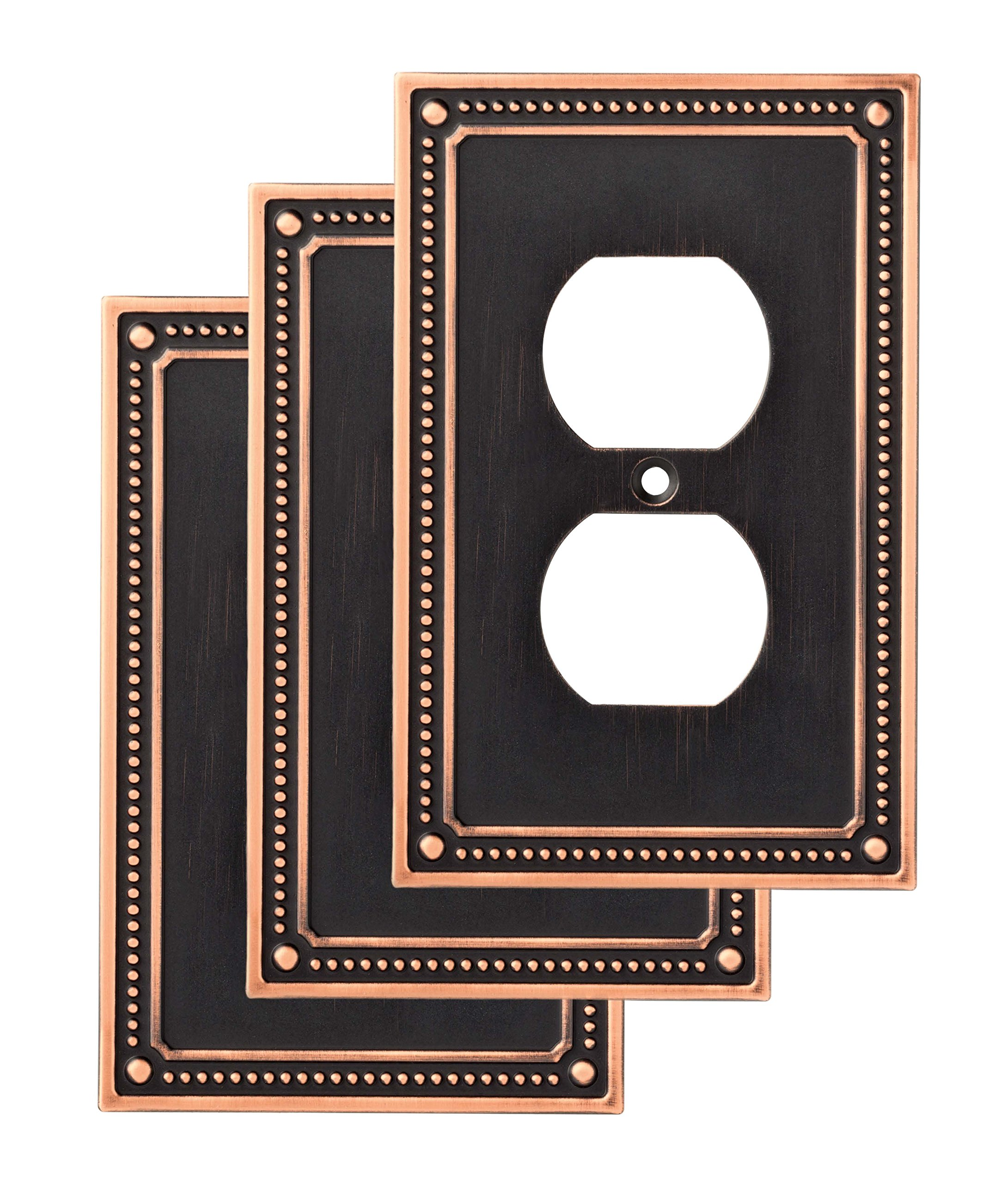 Franklin Brass W35059V-VBC-C Classic Beaded Single Duplex Wall Plate/Switch Plate/Cover (3 Pack) with Copper Highlights, Bronze