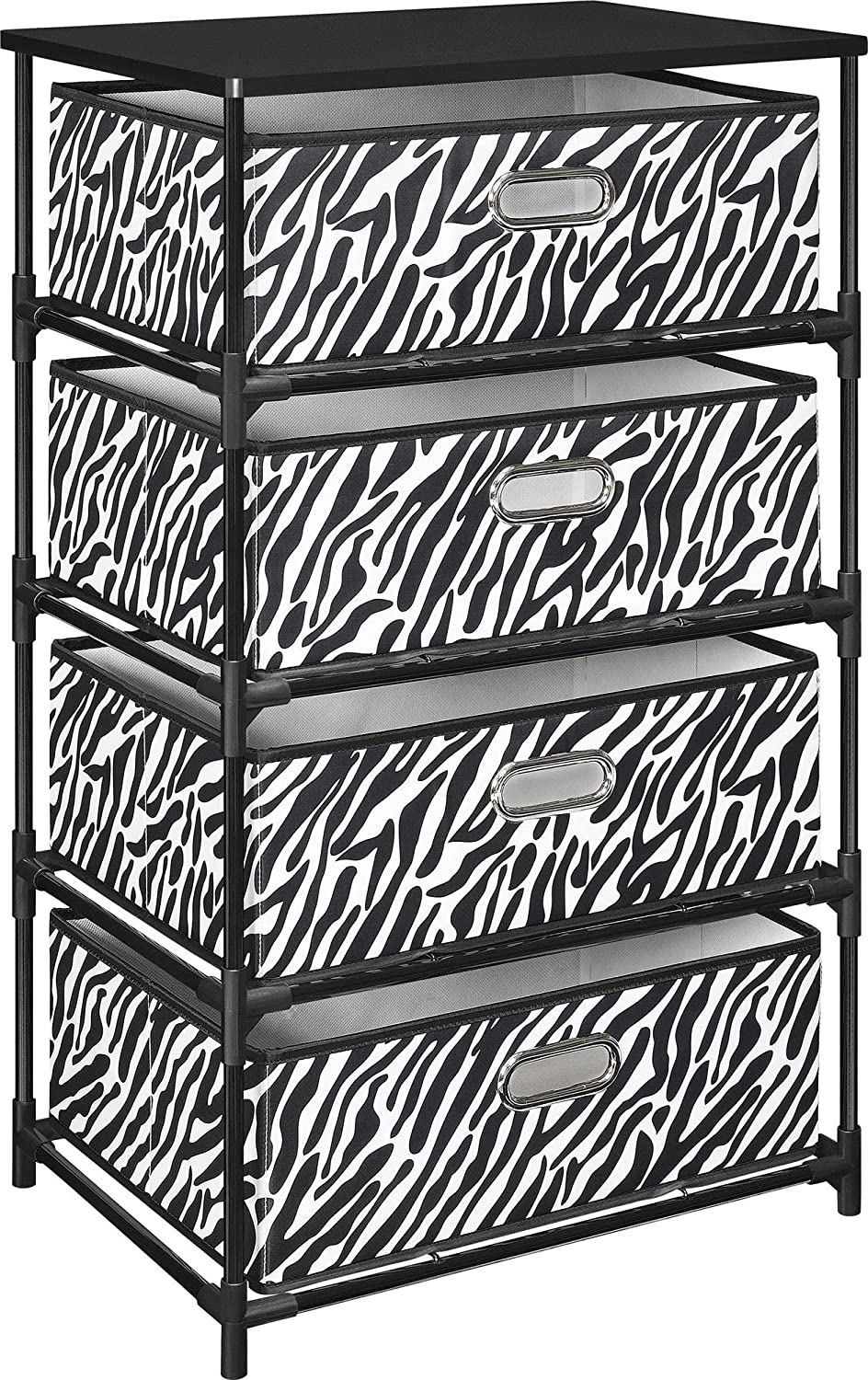 Amazon.com: Altra Sidney 4 Bin Storage End Table, Zebra/Black: Kitchen U0026  Dining