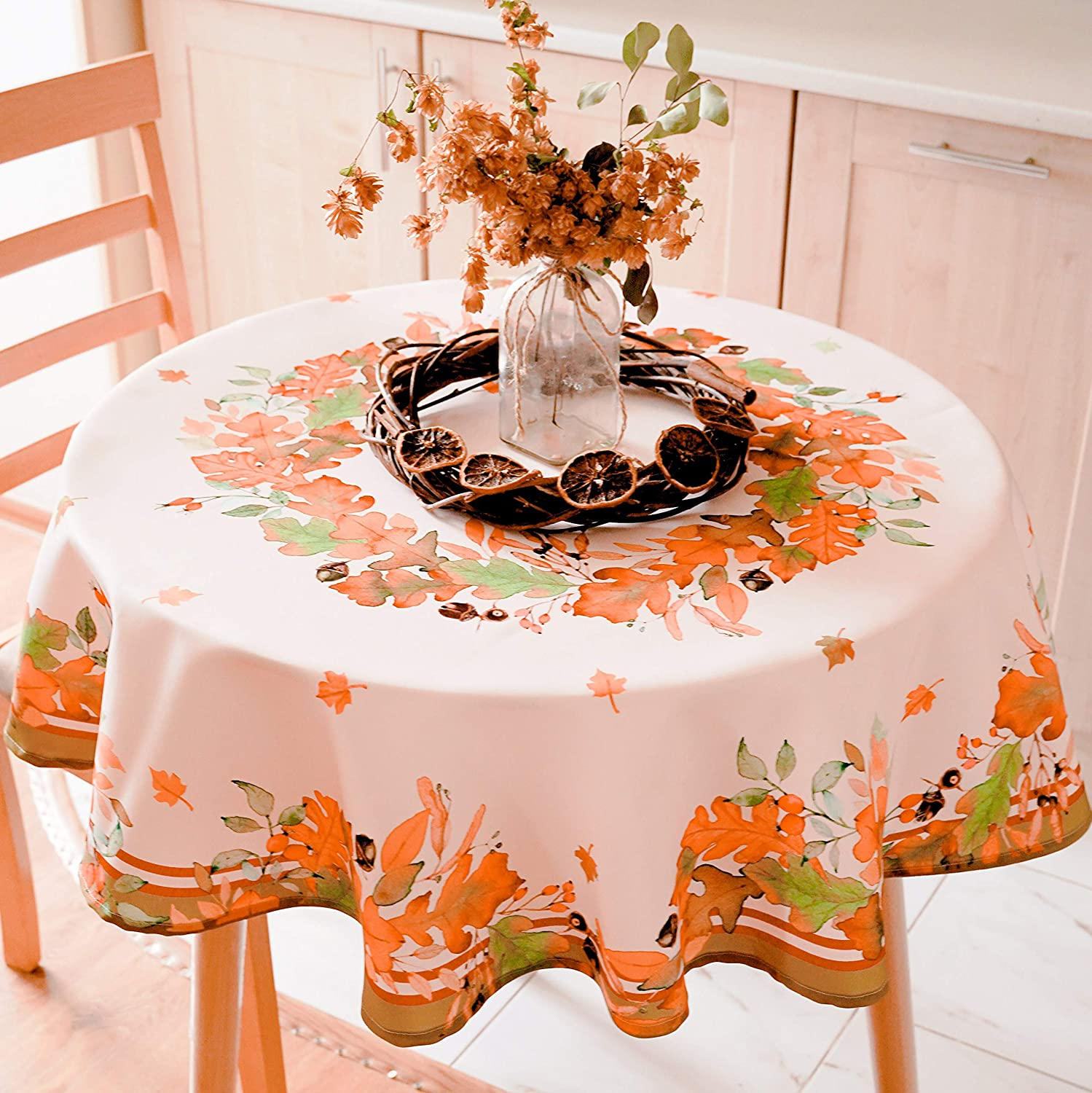 "AHOLTA DESIGN Non-Iron Stain Resistant Thanksgiving Table Cloth – Fall Table Cover Home Dining Room Table Protection - Stylish Ivory Thanksgiving Decorations (Thanksgiving Tablecloth, Round 84"")"