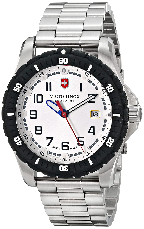 Amazon.com: Victorinox Mens 241677 Analog Display Swiss Quartz Silver Watch: Victorinox Swiss Army: Watches
