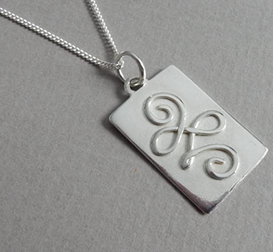 Sterling Silver New Beginnings Symbol Rectangular Pendant And Curb