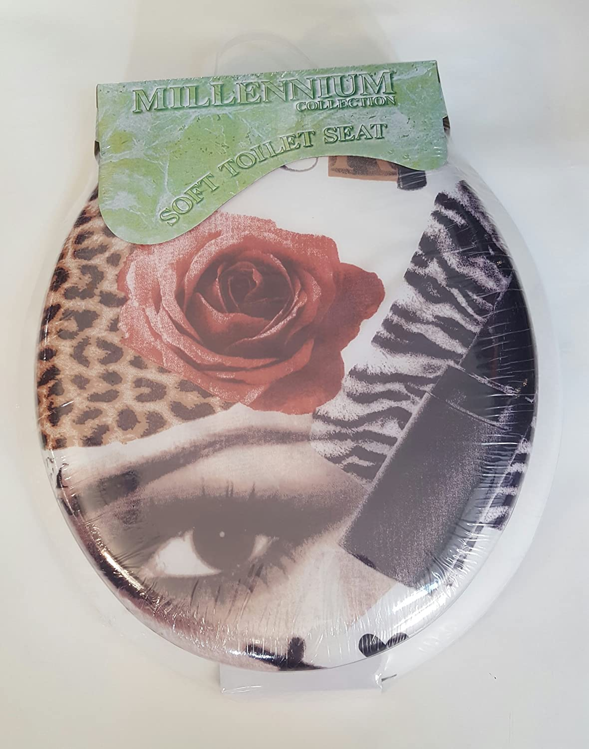 Fashionista//White Standard Soft Toilet Seat with Plastic Hinges
