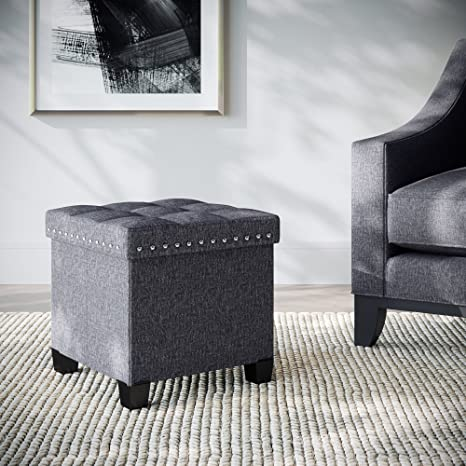 Nathan James 71102 Payton Foldable Storage Ottoman Foot Rest And Seat,  Cube, Charcoal Gray