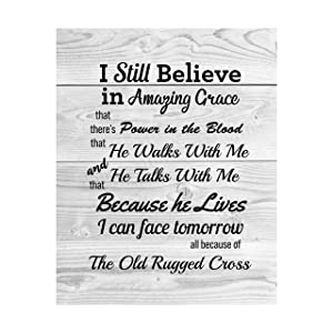 """Still Believe-Amazing Grace-Old Rugged Cross""-Gospel Hymns Wall Art-8 x 10"" Christian Song Lyric Print w/Distressed Wood Design-Ready to Frame. Perfect Religious Home-Office-Cabin-Lake House Decor!"