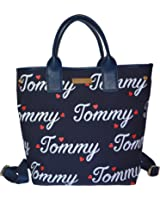 Tommy Hilfiger Signature Canvas Convertible Backpack Handbag
