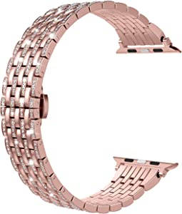 Wearlizer Rose Gold Compatible with Apple Watch Band 38mm 40mm for iWatch SE Luxury Bling Rhinestone Diamond Crystal Strap Metal Wristband Dressy Bracelet Feminine Replacement Series 6 5 4 3 2 1