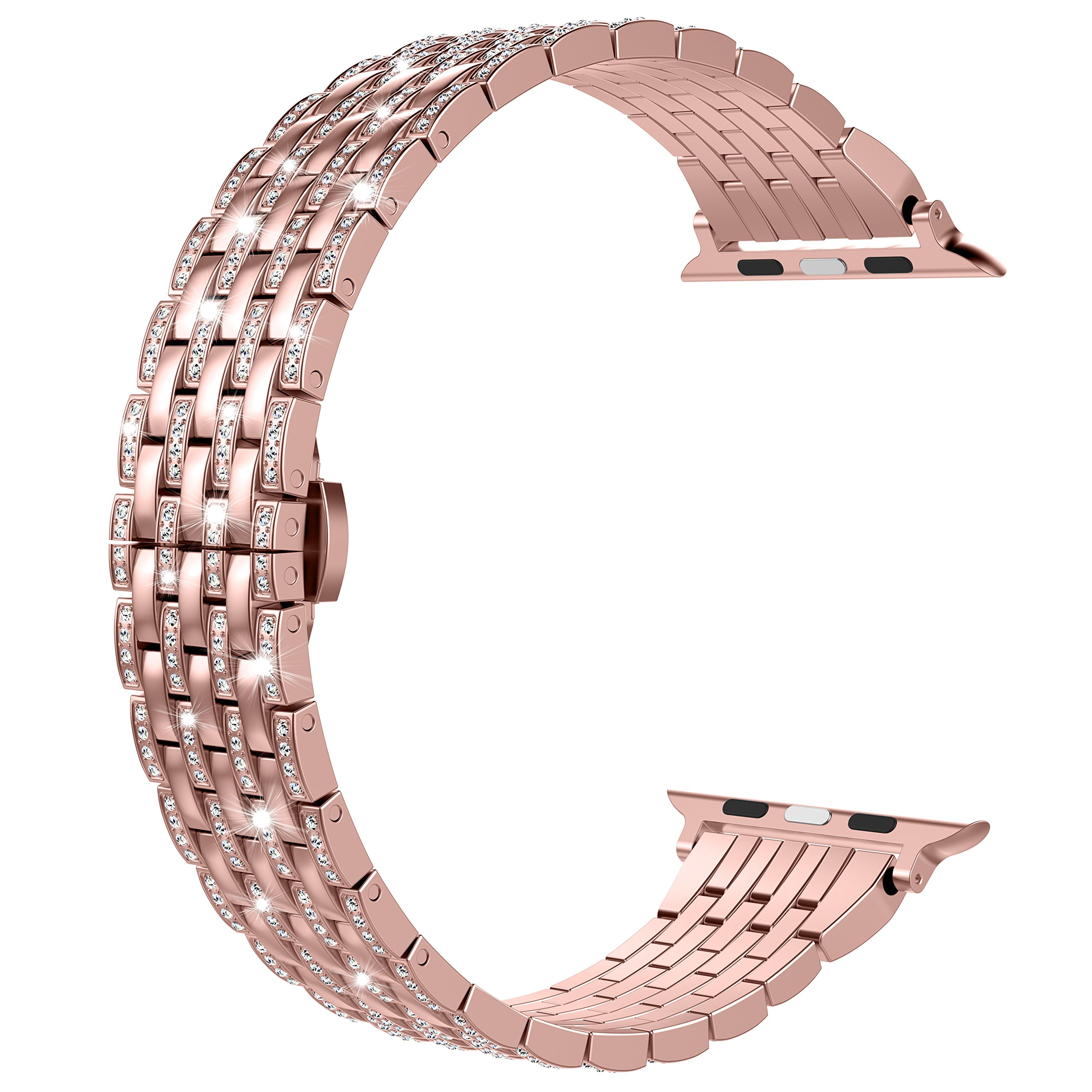 Wearlizer Rose Gold Compatible with Apple Watch Band 42mm 44mm iWatch Luxury Bling Rhinestone Diamond Crystal Strap Lightweight Aluminum Wristband Dressy Bracelet Replacement Series 4 3 2 1 Edition