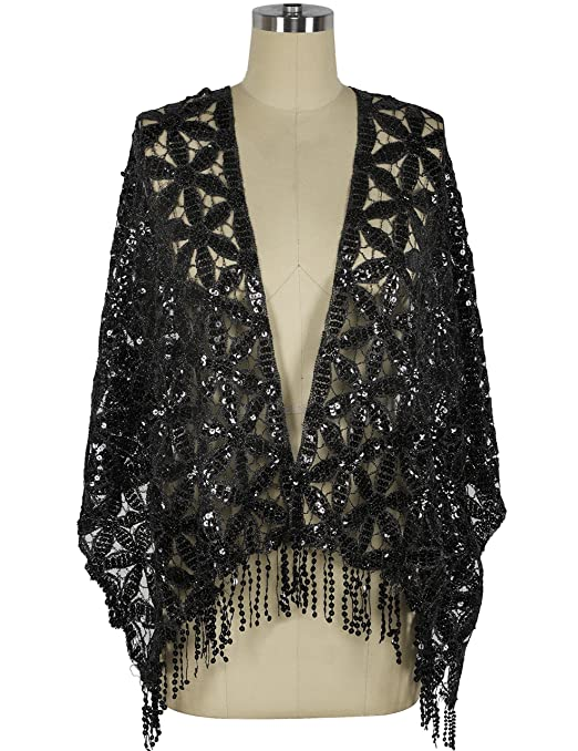 1920s Style Shawls, Wraps, Scarves Kayamiya Womens 1920s Scarf Sequin Deco Fringed Wedding Cape Evening Shawl $13.99 AT vintagedancer.com