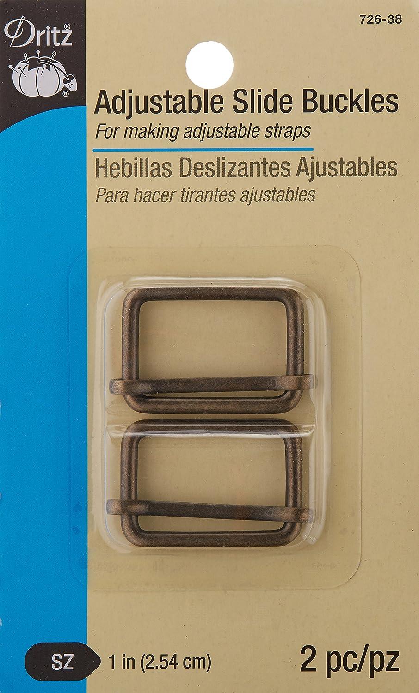 Amazon.com: Dritz 726-38 Adjustabl Slide Buckles for 1-Inch Straps Antique Brass 2 Count