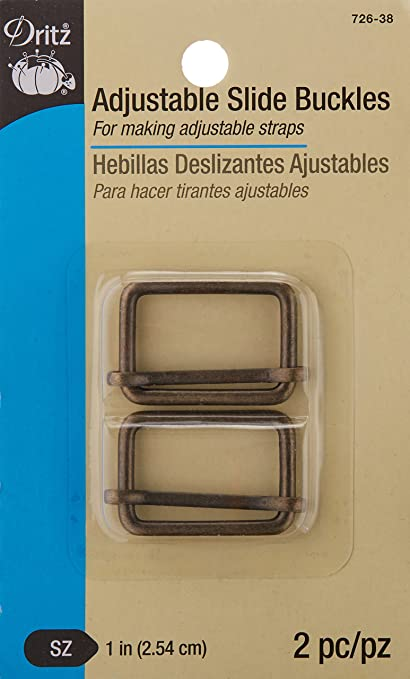 Dritz Adjustable Slide Buckles, Antique Brass, ...