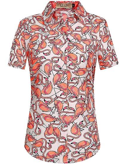 d35eb6fd7 SSLR Women's Flamingos Short Sleeve Casual Button Down Hawaiian Shirt  (X-Small, White
