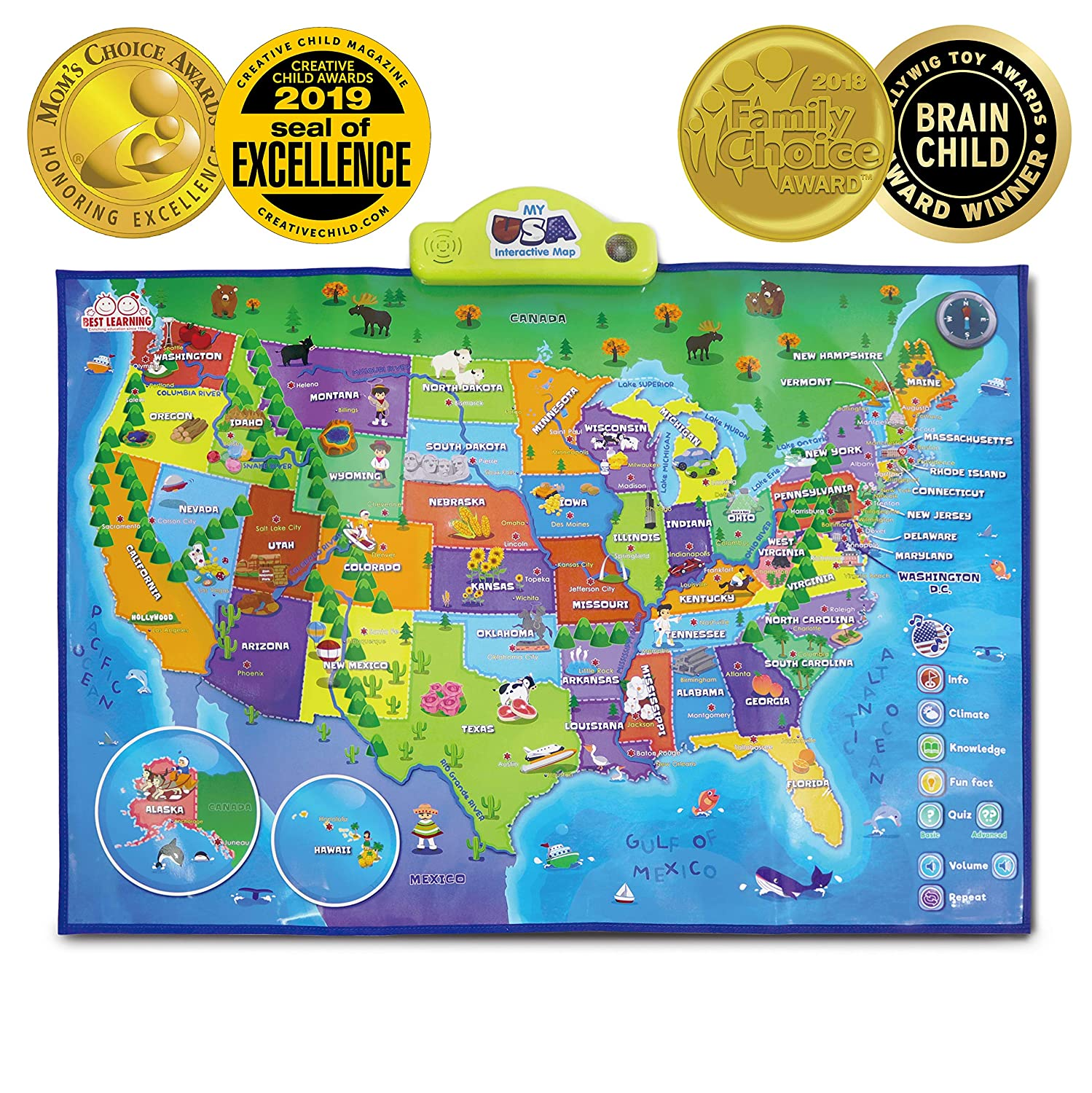 Interactive Map Of The Usa.Best Learning I Poster My Usa Interactive Map Educational Talking Toy For Boys And Girls Ages 5 To 12 Years Old Ideal Gift For Kids