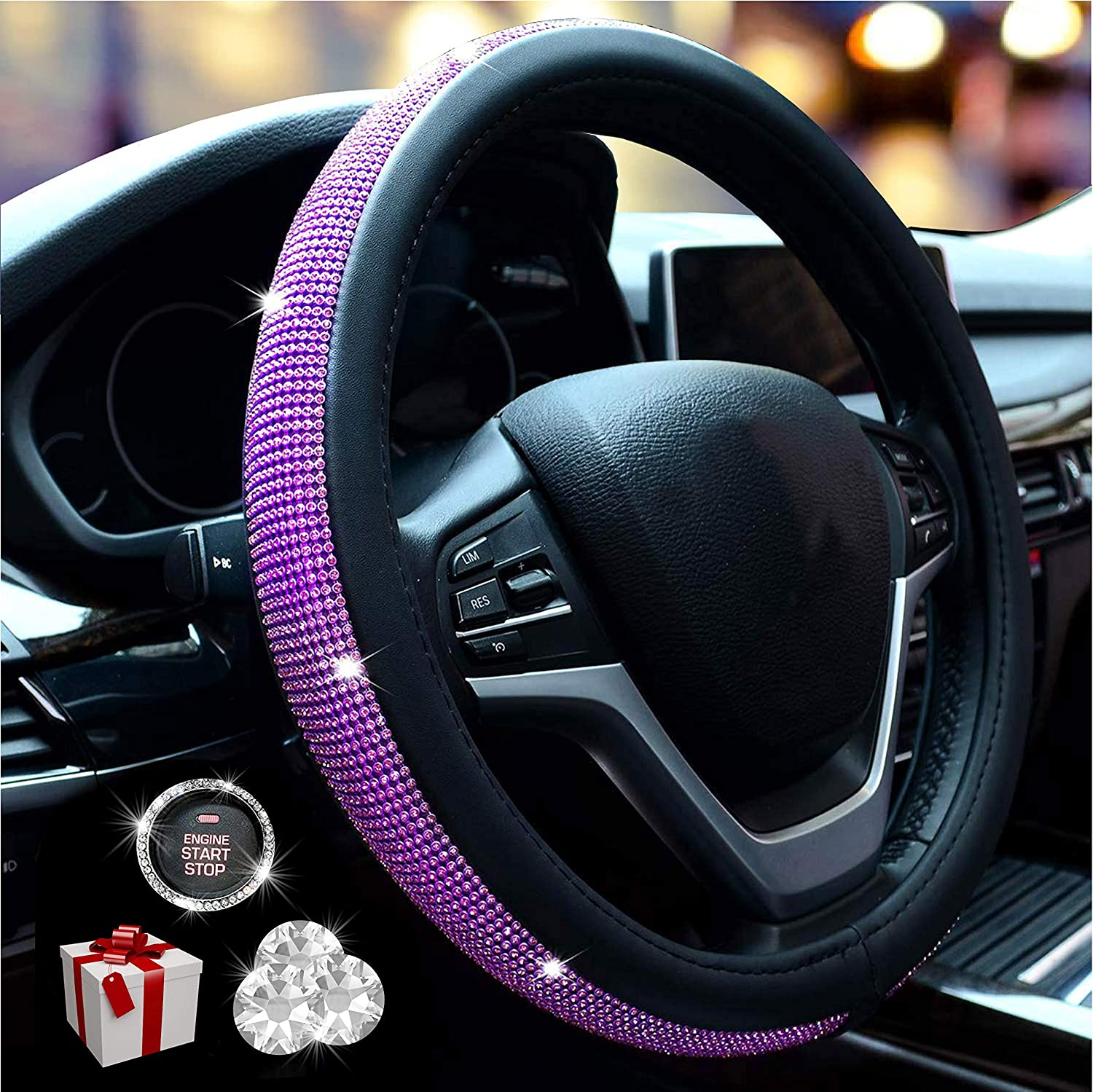 Purple Universal Fit 15 Inch Anti-Slip Wheel Protector for Women Girls New Diamond Leather Purple Steering Wheel Cover with Bling Bling Crystal Rhinestones
