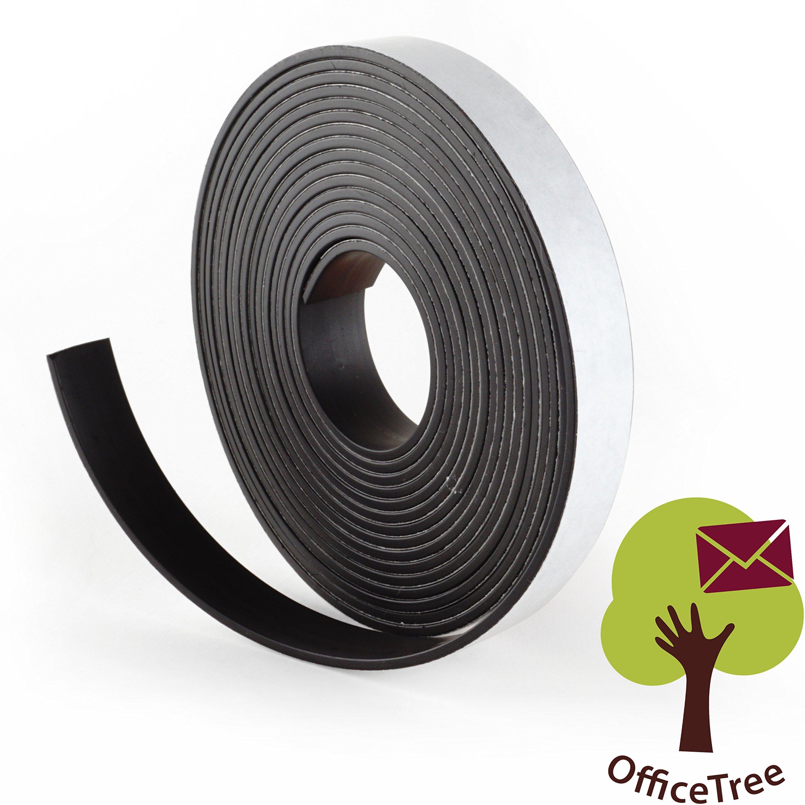 OfficeTree ® Cinta mágnética - 3 m - Cinta autoadhesiva para la imantación fija de carteles, fotos, papeles - Adherencia extra fuerte sobre pizarra blanca, pizarra magnética - negro