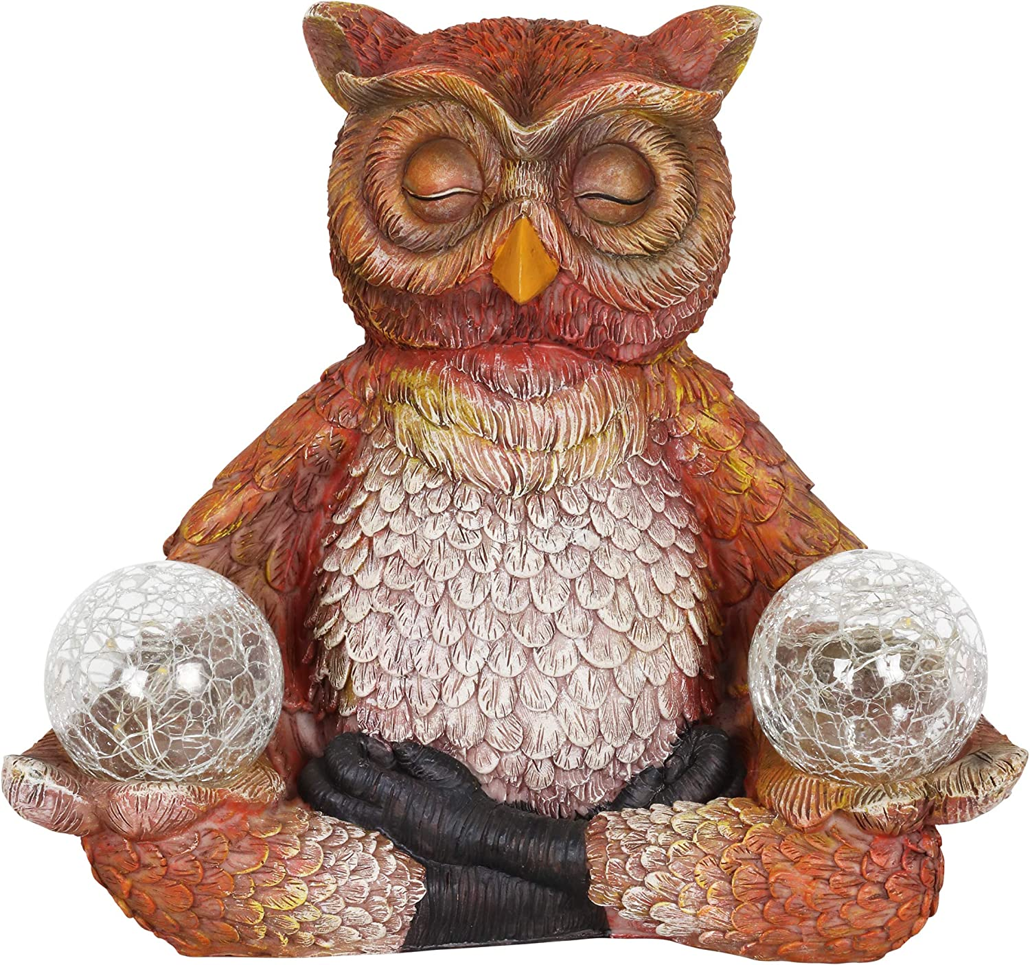 """Exhart Solar Yoga Owl Holding 2 Glass Balls Garden Statue - Hand-Painted Resin Statue of an Owl in Cross-Legged Meditation Pose w/Solar LED Lights Glass Orbs, 11"""" Wide x 9"""" Inches Tall"""
