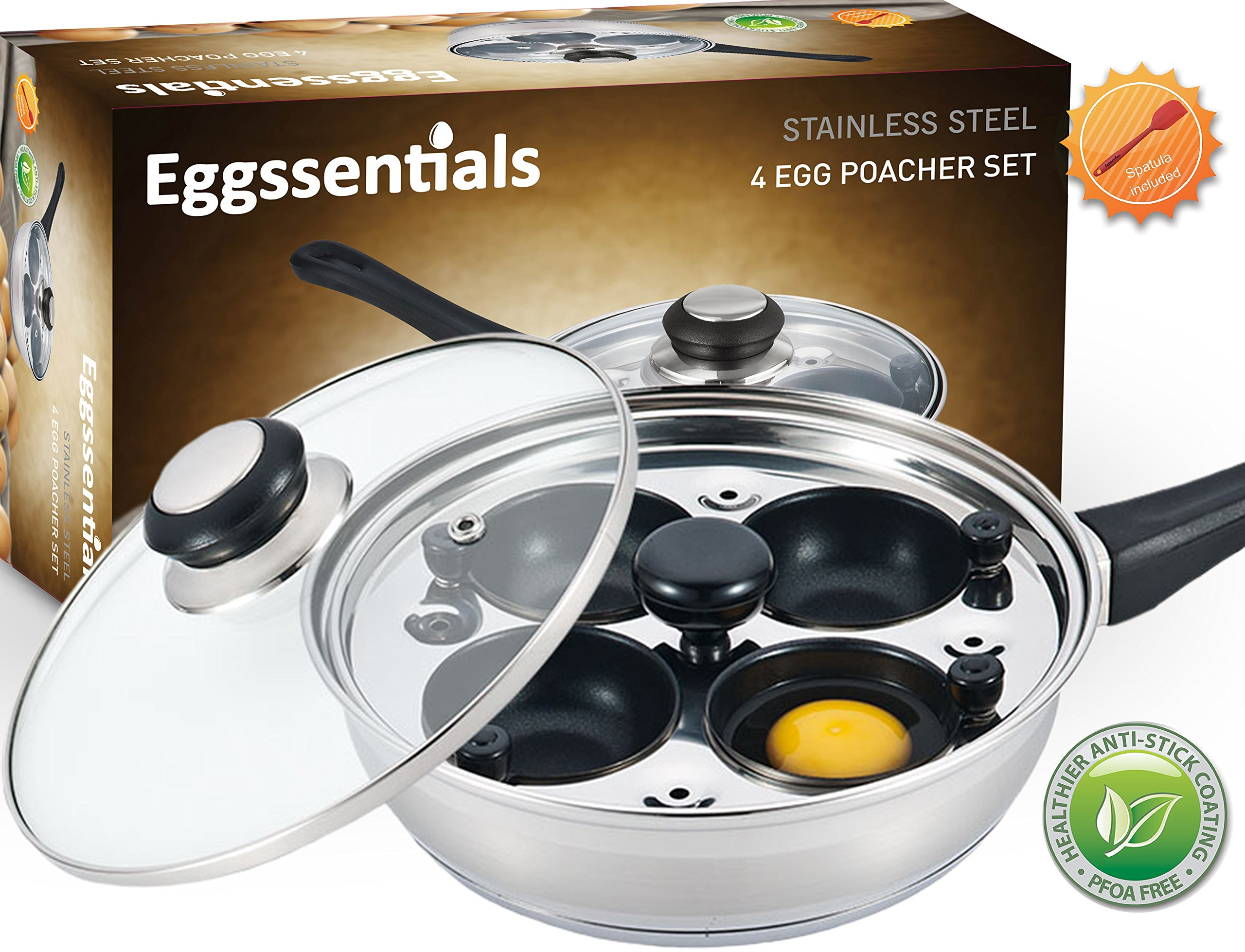 Eggssentials Poached Egg Maker - Nonstick 4 Egg Poaching Cups - Stainless Steel Egg Poacher Pan FDA Certified Food Grade Safe PFOA Free With Bonus Spatula by PremiumWares