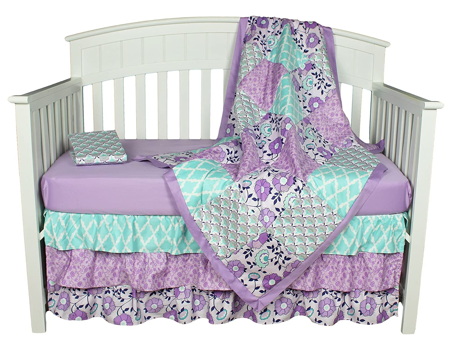Baby Crib Bedding Set Zoe 4 Piece Purple Girls Nursery